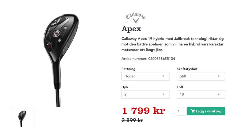 Callaway Apex 19 Hybrid 2, 18˚